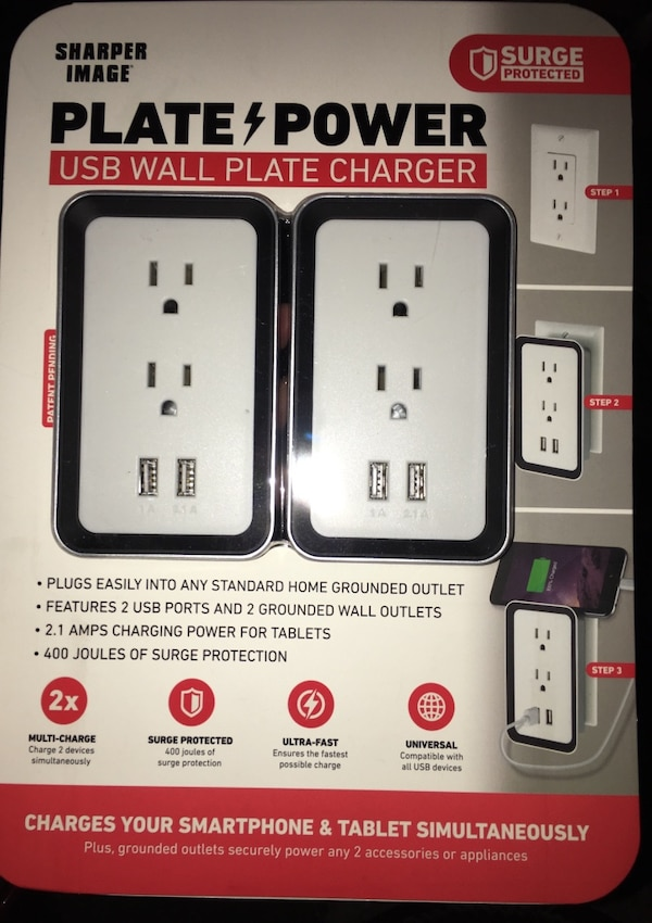 Used Surge Plate Power Usb Wall Plate Charger By Sharper Image For