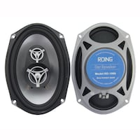 two black-and-gray Pioneer coaxial speakers MONTREAL