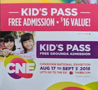 Canadian National Exhibition CNE Admission ticket Maple, L6A