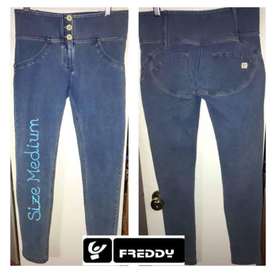 FREDDY WR.UP Mid Rise skinny- Med Rinse + Yellow Stitching Pants