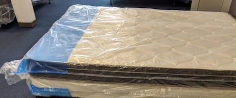 Queen Pillowtop Mattress box spring AND bed frame Brand New