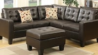 black leather sectional couch with ottoman Fresno, 93728