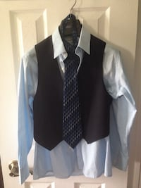 Boys size 10 - 3 piece suit with tie and size 12 dress shirt