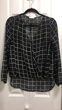 Grid print surplice blouse  Richmond, V6V
