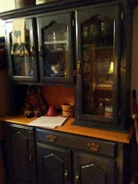 brown wooden framed glass display cabinet Toney, 35773
