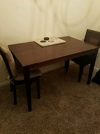 rectangular brown wooden table with four chairs dining set Hampton, 30228
