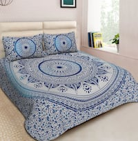 MANDALA QUEEN BEDSHEET WITH PILLOW COVERS NEW Victoria
