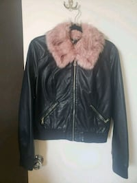 Leather jacket with pink fur