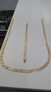 18K Gold PVD Plated Cuban Chain Set