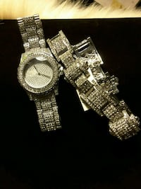 WATCH. NEW Silver in Finish Iced-Out Watch & Braclete Set 50$ Ladson, 29456