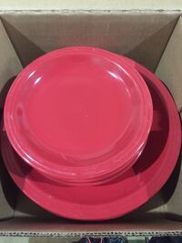 Red dinner plates & small plates. Glass. Very sturdy! Pick up in Eaton Rapids