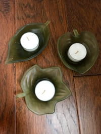 Set of 3 PartyLite Glass Leaf Candle Holders Innisfil, L9S 2J3