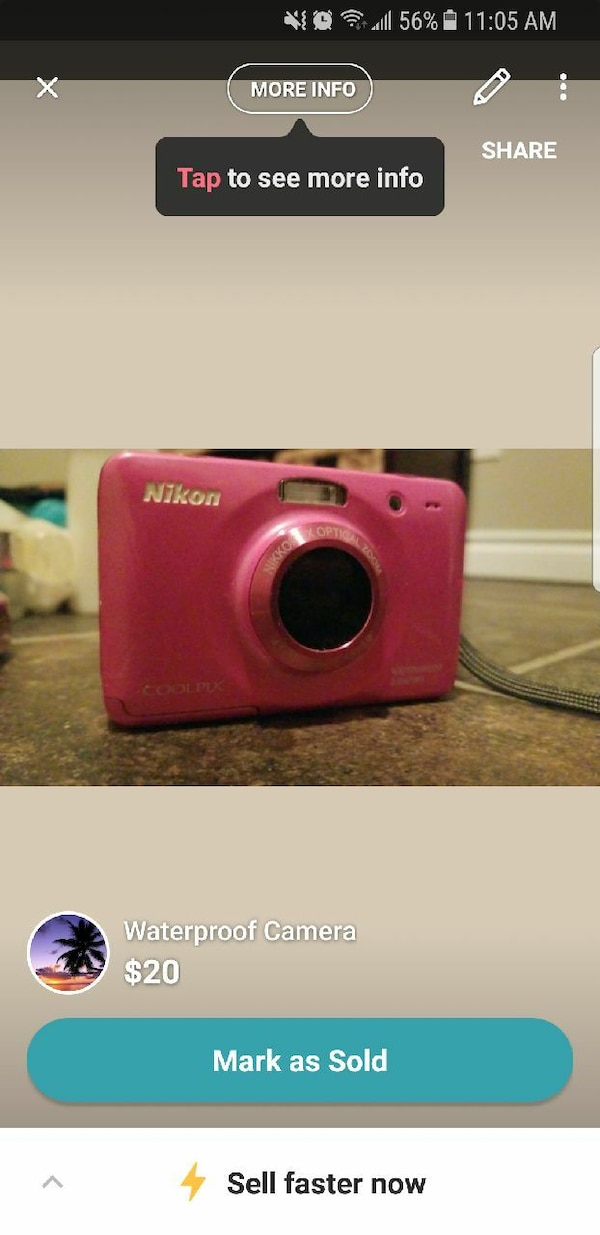 pink Nikon waterproof camera screenshot