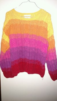 yellow, orange, pink, and red sweater Buxton, 04093