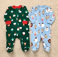 2 Carters holiday fleece sleepers size 3 m Mississauga, L5M 0H2