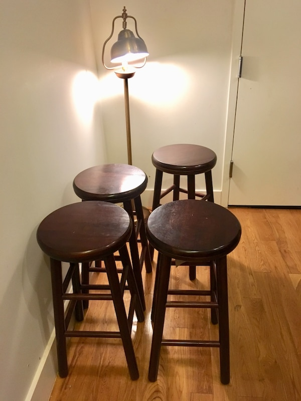 Used Two Black Metal Framed Brown Padded Bar Stools For Sale In New