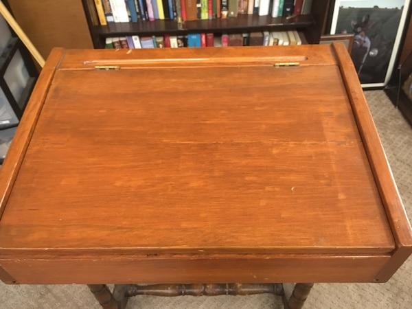 "Solid wood antique lap desk w/ storage space.  19.5"" wide 5"" high 14.5"" deep"