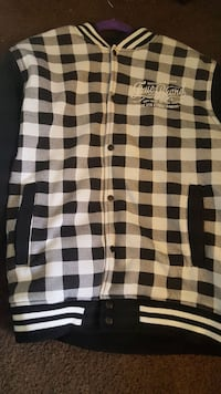 white and black checked button-up jacket Los Angeles