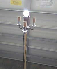 white and brown floor lamp base