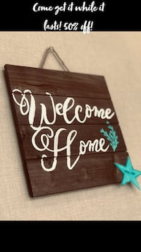 brown wooden Welcome printed wall decor West Melbourne, 32904