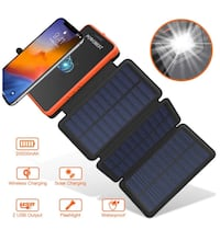 Solar Charger,Qi Wireless Solar Power Bank,20000mAh Portable Solar