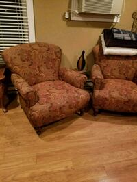 brown and red floral fabric sofa chair Manalapan Township, 07726