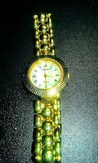 round gold-colored analog watch with link bracelet Silver Spring, 20906