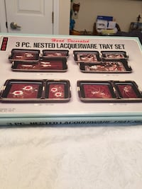 Nested Lacquer Tray Set -3pc NIB Louisville, 40272