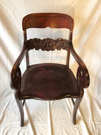 Antique side chair, mahogany color with ornate carved back Frederick, 21701