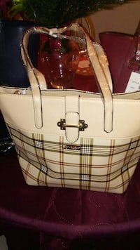 white and brown plaid leather tote bag