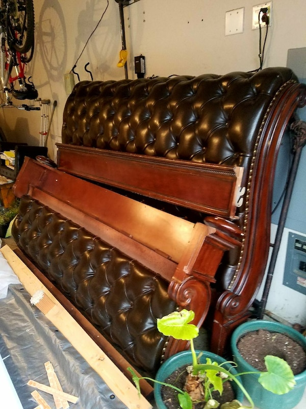 California King leather tufted sleigh bed