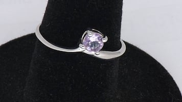NATURAL AMETHYST WHITE GOLD PLATED WITH 925 STERLING SILVER RING