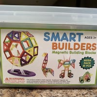SMART BUILDERS MAGNETIC BUILDING BLOCKS  TOY 81 PCS MEGA PACK WITH TUB Vancouver