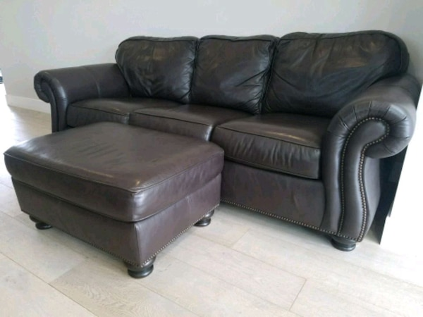 Bernhardt brown leather sofa and ottoman