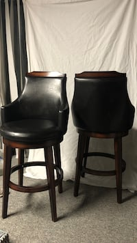 two black leather padded bar stools Pitt Meadows, V3Y