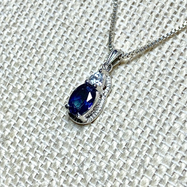 Vintage Sterling Silver & Sapphire Pendant with Sterling  Box Chain