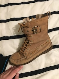 pair of brown leather combat boots 2232 mi