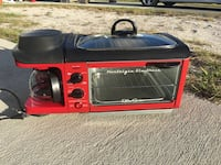red and black toaster oven, grill and coffeemaker