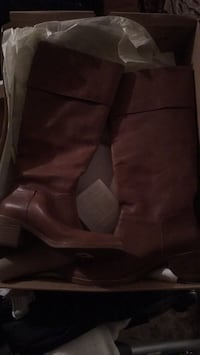 pair of brown leather round toe chunky heeled knee-high boots 232 mi
