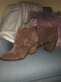 Lucky Brand brown suede side-zip chunky heeled booties Columbus, 43212