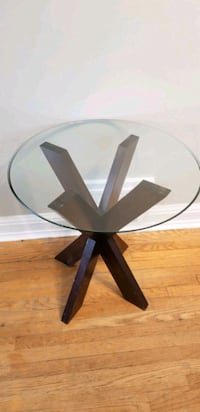 Living room Modern side table wood and round glass Toronto, M3H 2T6