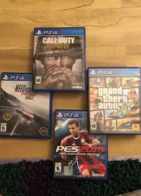 four Sony PS4 game cases Columbia, 21045