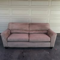 Beige microfiber 7 ft couch (free delivery 20 miles? 2230 mi