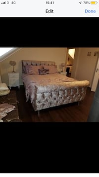 brown wooden bed frame with white mattress London, SE6 4AZ