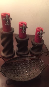 two red and one black candle holders Midland, 79703