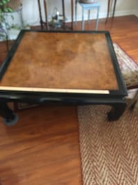 rectangular brown wooden coffee table 4' x 4' Madison, 35758