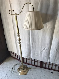 two brown wooden base white shade floor lamps Beaumont, 77703
