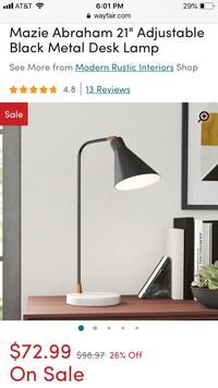 Black metal desk lamp with white marble base Oxon Hill, 20745