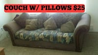brown wooden framed blue fabric padded sofa Kennewick, 99336