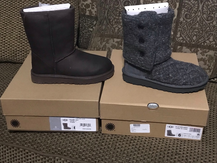 Used, two unpaired black UGG Classic Short boot and grey UGG Classic Cardy boot with boxes for sale  New York